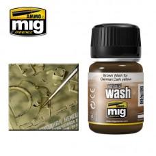 Ammo by Mig Jimenez: Brown Wash for German Dark Yellow (Коричневая смывка для немецкой техники темно-желтого цвета). AMIG1000