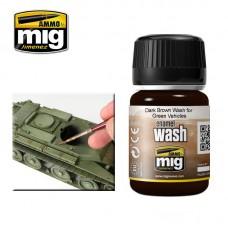 Ammo by Mig Jimenez: Dark Brown Wash for Green Vehicles (Темно-коричневая смывка для техники зеленого цвета). AMIG1005